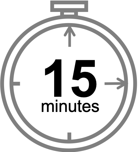 15-minute clock icon