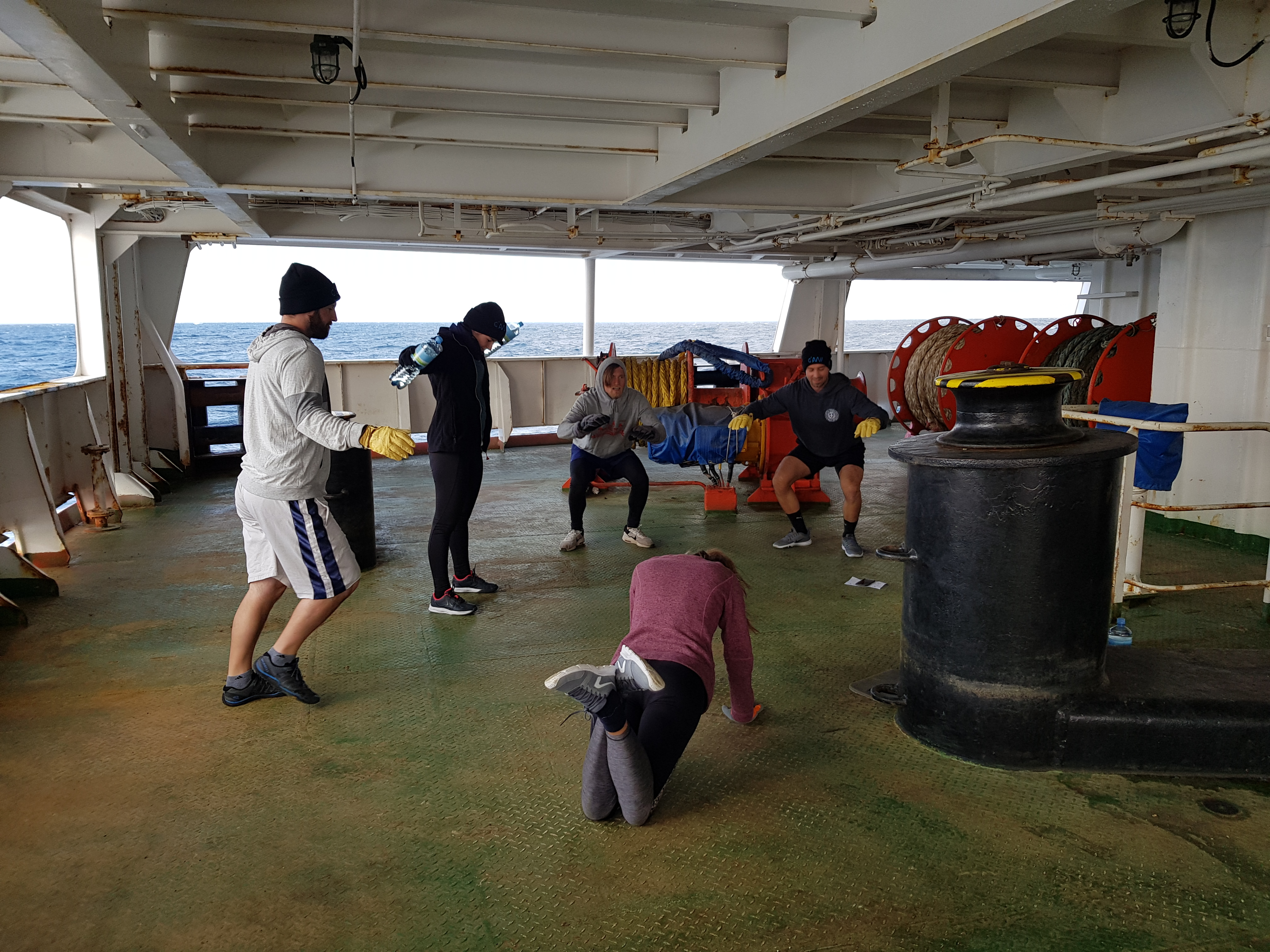 Crossfit on the ship deck