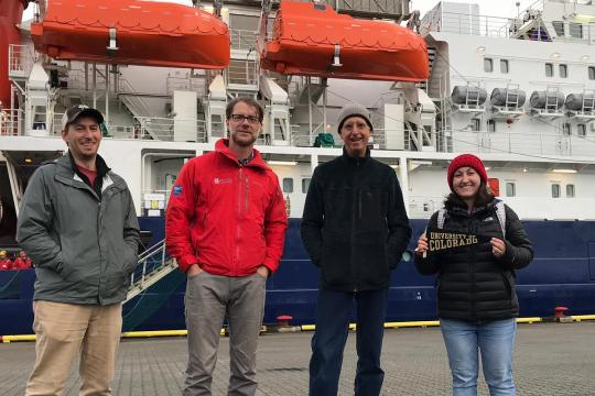 Chris Cox, Matthew Shupe, Byron Blomquist and Sara Morris in front of Polarstern