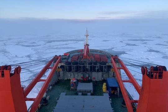 The bow of the Akademik Fedorov as we sail north in the High Arctic. Photo: Jessie Creamean, Colorado State University