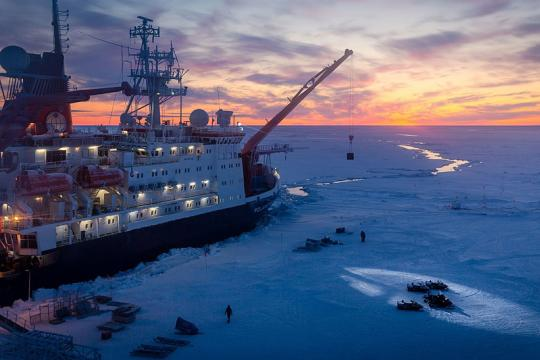 The MOSAiC ice camp and RV Polarstern. (Photo credit: Stefan Hendricks)