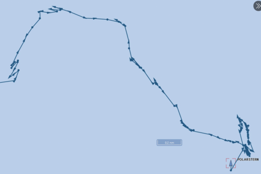 Path of the Polarstern through the ice showing a number of back-and-forth ramming. (Source: MarineTraffic.com)