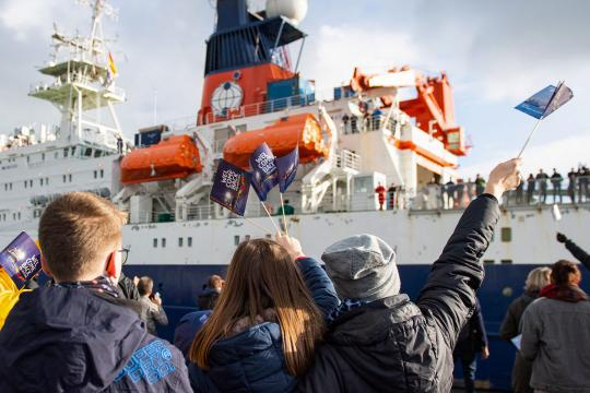 The Polarstern research vessel returned to Bremerhaven, Germany, on 12 October after a yearlong drift across the Arctic DAVID HECKER/GETTY IMAGES